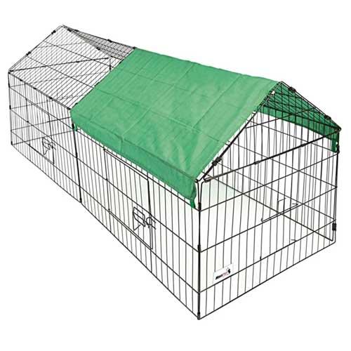 Petit enclos en acier zingué pour lapin ou poule